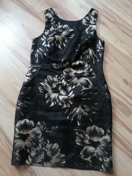 Sukienka czarna złote srebrne kwiaty elegancka 42 L XL wyszczuplająca