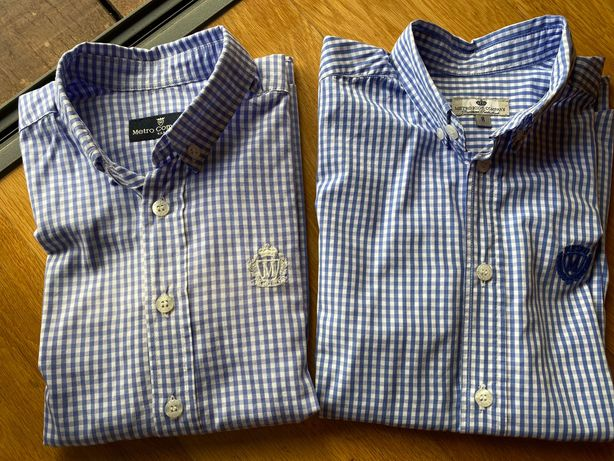 Camisas 8 anos Xadrez azul e branco - Metro Kids