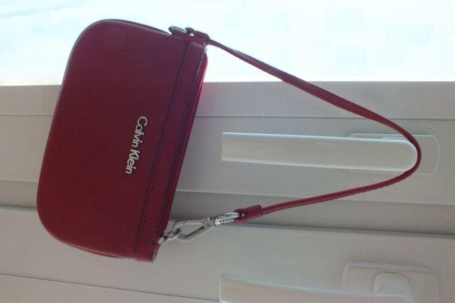 Calvin Klein oryginalna torebka saszetka etui na klucze skóra saffiano