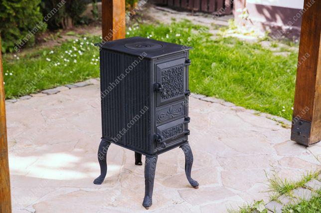 Буржуйка чугунная с варочной поверхностью черная 60 кг, печь, камин