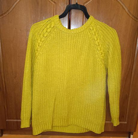 Вязаный свитер, цвет горчичный