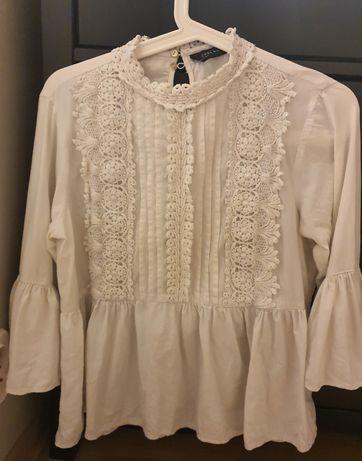 Biala bluzka z haftem - ZARA