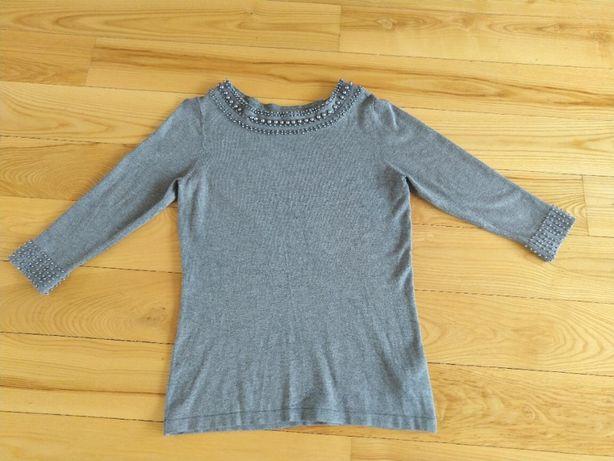 Bluzka/sweter z szarymi perełkami