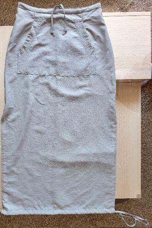 Spódnica khaki rozcięcia po bokach kieszenie r.M