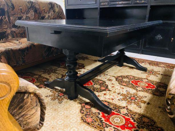 Czarny drewniany stół solidny jadalnia duży rozkładany klasyka OKAZJA