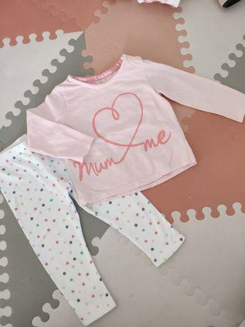 Piżama różowa spodnie w grochy F&F r. 80