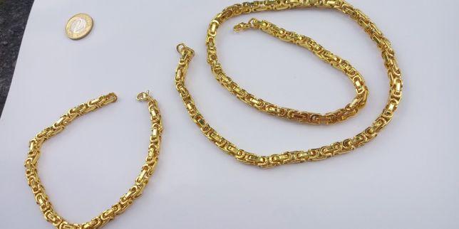Złoty łańcuszek,pozłacany łańcuszek,splot królewski,złoto,316L,Nowy,Lv