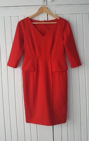 Czerwona Sukienka z Baskinką, Marks&Spencer