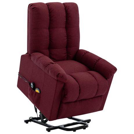 vidaXL Poltrona elevatória de massagens tecido vermelho tinto 321393