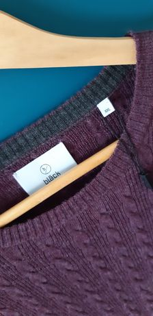 Sweter welniany bläck, Robert cable o-neck, prune purple 100% merino