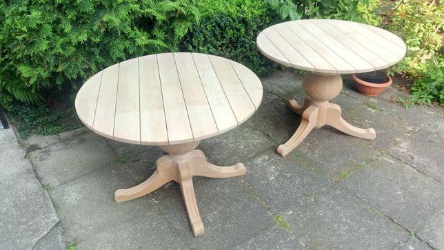 Okrągłe stoliki drewniane, niemalowane