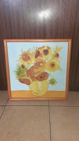 Obraz na płótnie 43x43cm kwiaty słoneczniki Van Gogh reprodukcja