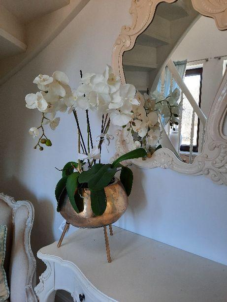 Osłonka dekoracyjna donica złota glamour-duża