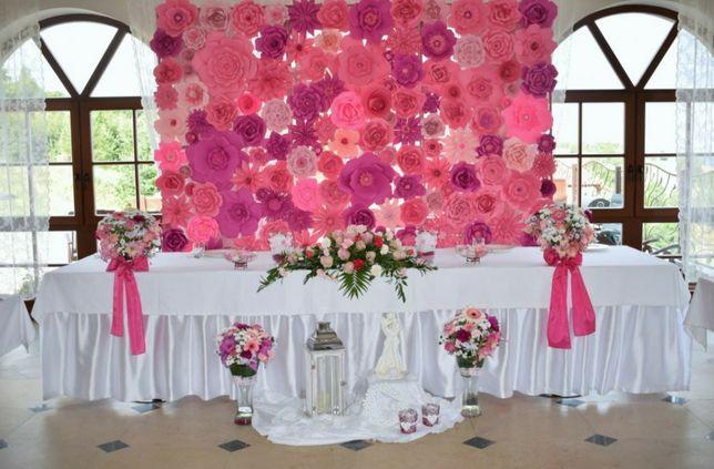 Kwiatowa ścianka weselna