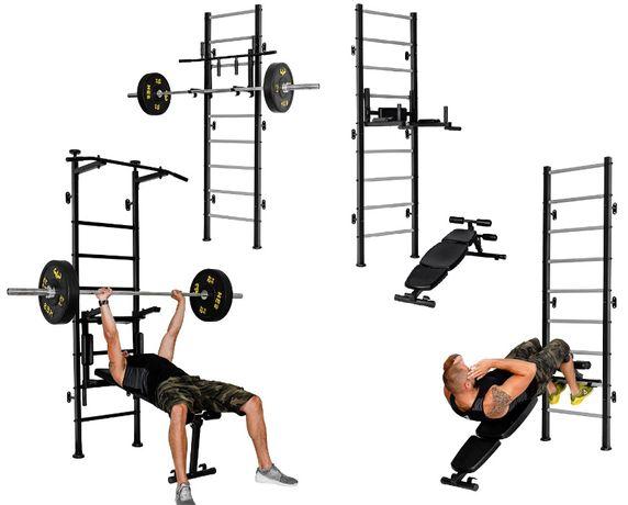 Ławeczka do ćwiczeń, poręcze do dipów, drabinka gimnastyczna