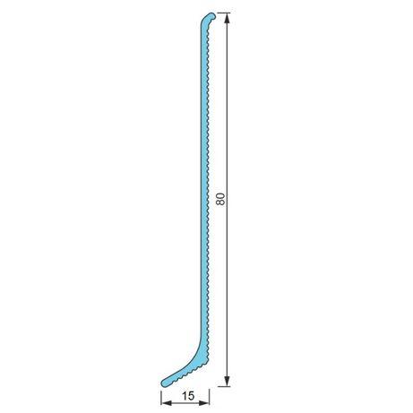 Плинтус BLW-3107-10 алюминиевый накладной высотой 80*15мм
