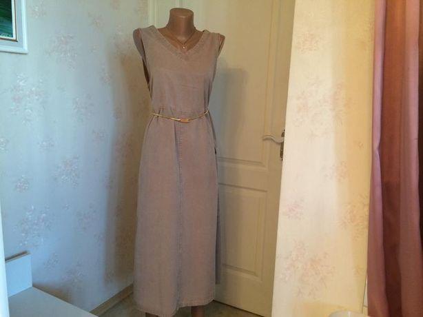 Модное платье миди, хаки, с карманом