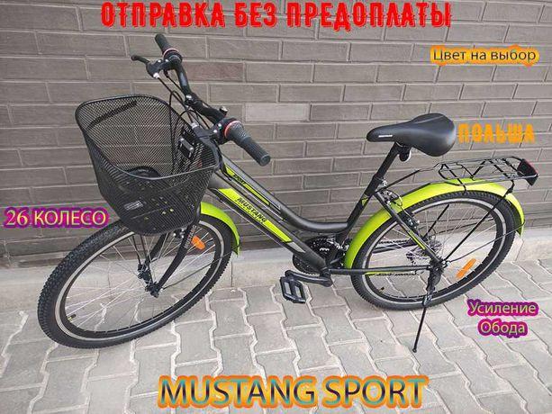 """Велосипед Горный с женской рамой Mustang Sport 26"""" GD  - Черно-Зеленый"""