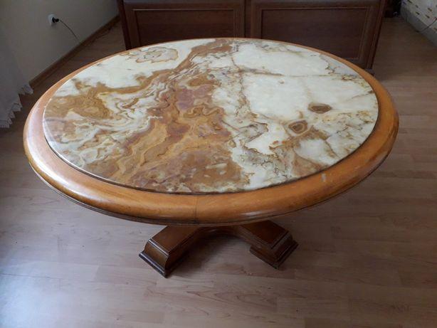 Stól stolik okrągły kamień blat alabaster duży