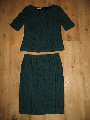 Nowy Promod koronkowy komplet - spódnica i bluzka r.36/38