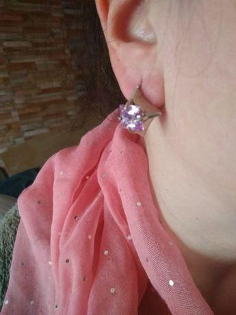 Серебряные серьги с нежно-розовым цирконием