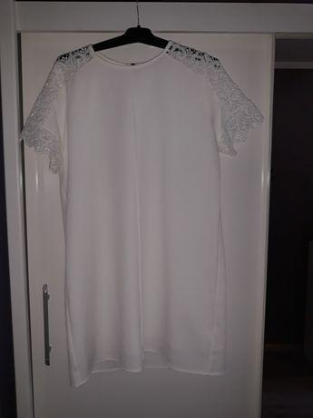 Biała  elegancka  sukienka gipiura Zara  XL