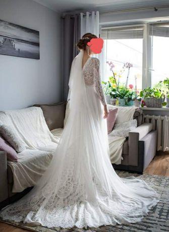 Suknia ślubna długi rękaw,długi tren