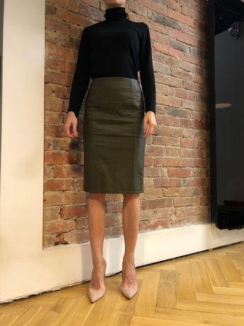 Spódnica ołówkowa skóra ekologiczna khaki zieleń S 36