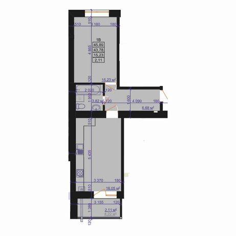 46м/кв. кухня-студіо + повноціна кімната, без комісій
