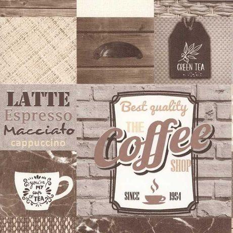 Tapeta ścienna do kuchni cegła Coffe Tea Breakfast beżowa