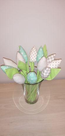 Tulipany z materiału miętowo - szare 12 szt