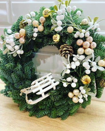 Wianki Świąteczne żywa jodła