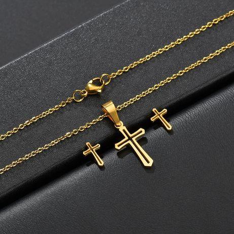 Elegancki Złoty Komplet Biżuterii *KRZYŻYKI*