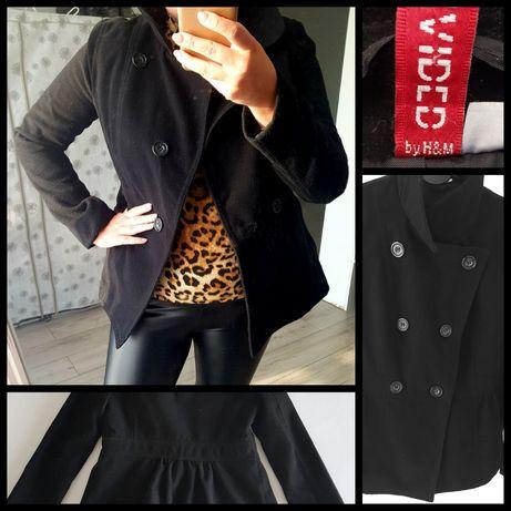 Krótki czarny płaszczyk H&M
