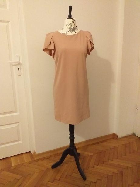 sukienka koktajlowa - rękawy z falbaną