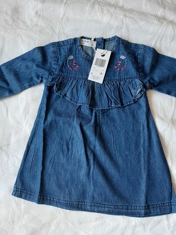 Sukienka jeansowa nowa r. 86 kwiatki granatowa