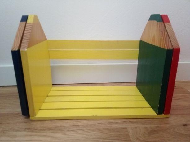 Półka na książki regulowana dla dziecka dziecięca drewniana34-64x17