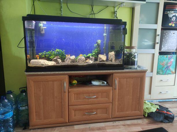 Akwarium 200l z szafką filtrem kubełkowy i akcesoriami