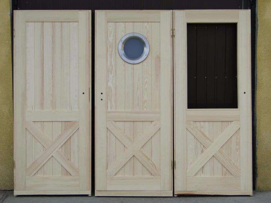 Drzwi wewnętrzne 100% drewniane sosnowe z bulajem Grzybno - image 1