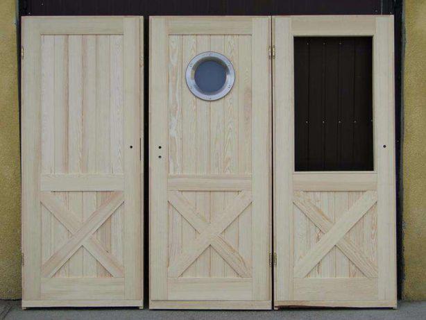 Drzwi wewnętrzne 100% drewniane sosnowe z bulajem