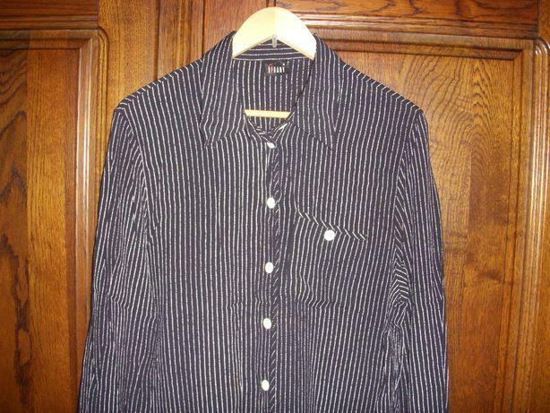 Ładna czarna bluzka w białe paski z długim rękawem 44