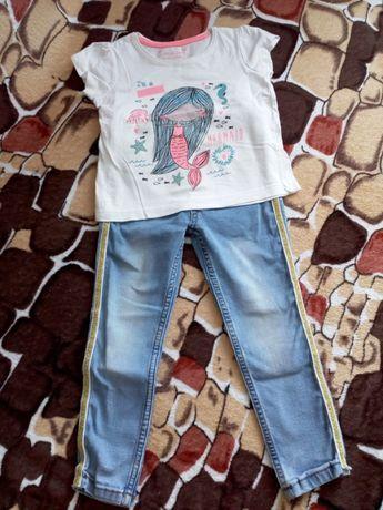 Комплект для девочки джинсы+футболка 2-3 года.