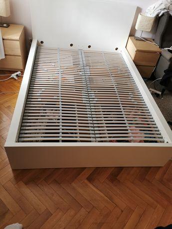 Łóżko Ikea Malm 140x200 z szufladami i stelażami Leirsund