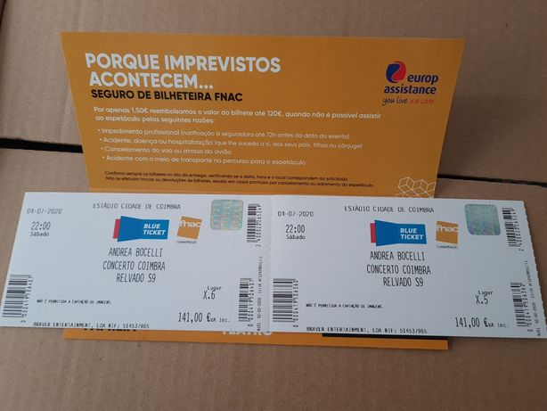 Bilhete concerto Andrea Bocelli