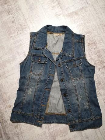 Jeansowa kamizelka, jeans, orygilana, modna, top, hit, S