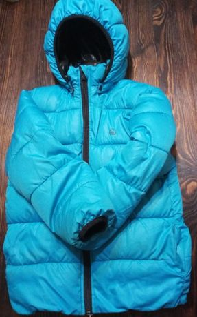 Ciepła kurtka dziecięca h&m niebieska r. 122 + szalik i czapka gratis