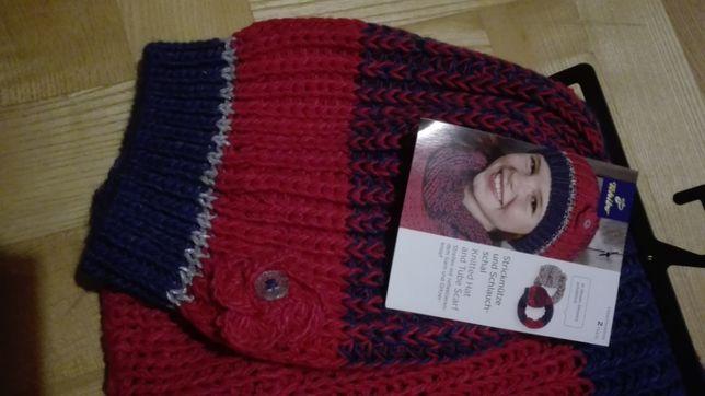 nowy komplet zimowy czapka i szalik, Tchibo, zestaw dla nastolatki