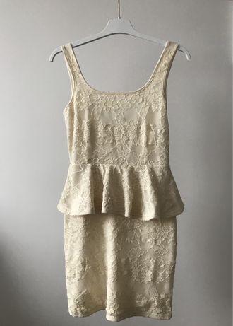Sukienka koronkowa RIVER ISLAND beż ecru nude hit baskinka falbanka