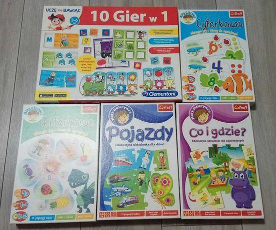Zestaw edukacyjnych gier i układanek dla dzieci