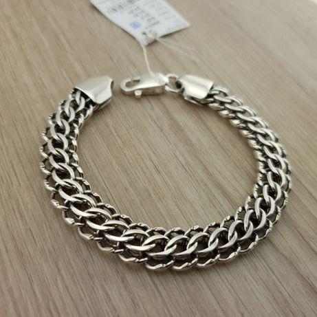 Серебряный браслет питон. Цепь на мужскую руку. Ширина 11 мм! серебро